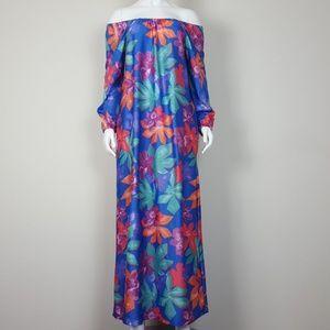 Vintage Blue Floral Maxi Dress